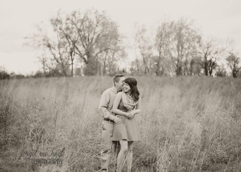 black and white photo of Columbus Ohio Engagement of couple in a field