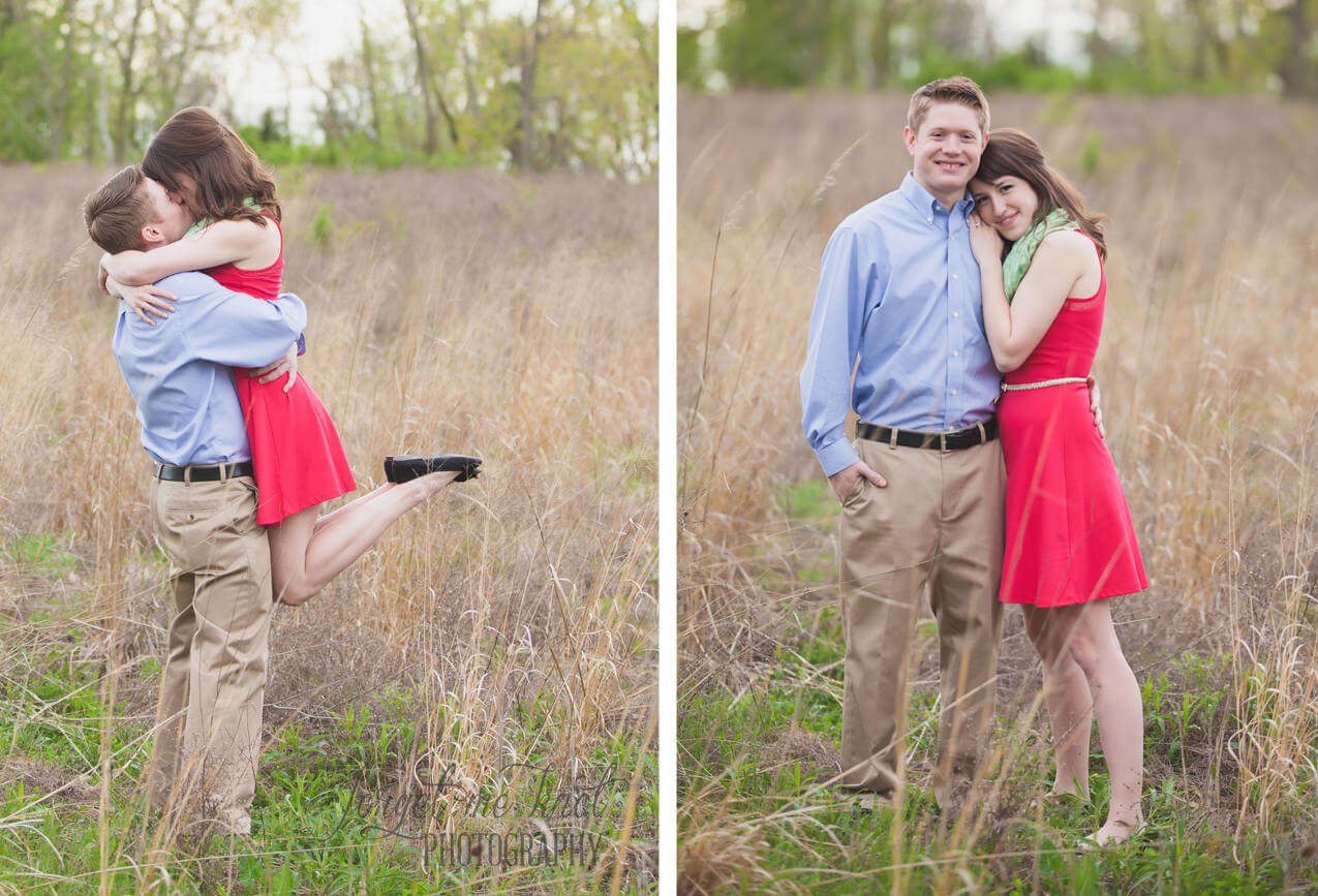 groom picking up bride in a field at grange insurance audubon center at Columbus Ohio Engagement