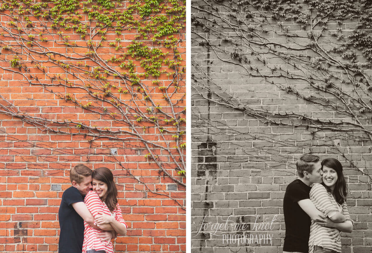 groom to be kissing bride on ivy wall at columbus ohio engagement