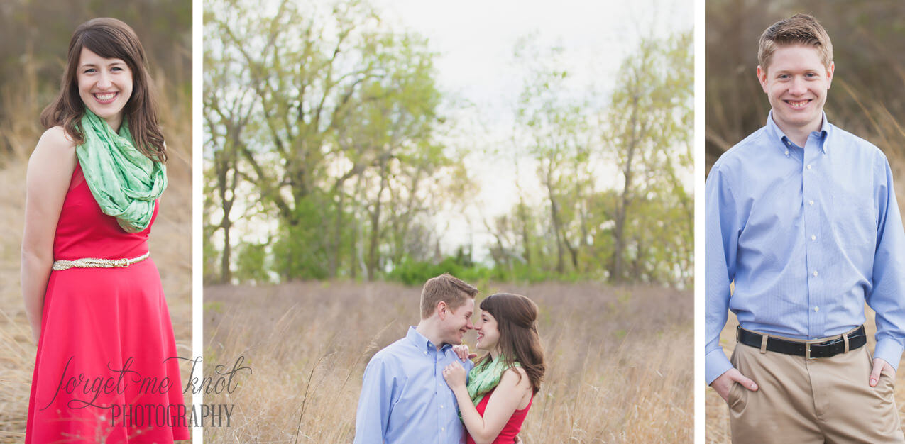 individual photos of engaged couple in a field at grange insurance audubon center