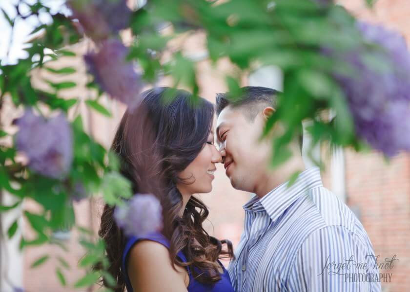 columbus ohio photography engagement of couple going in for a kiss