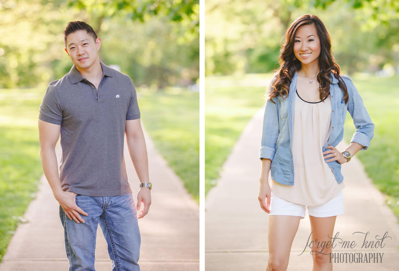 individual photos of engaged couple at goodale park