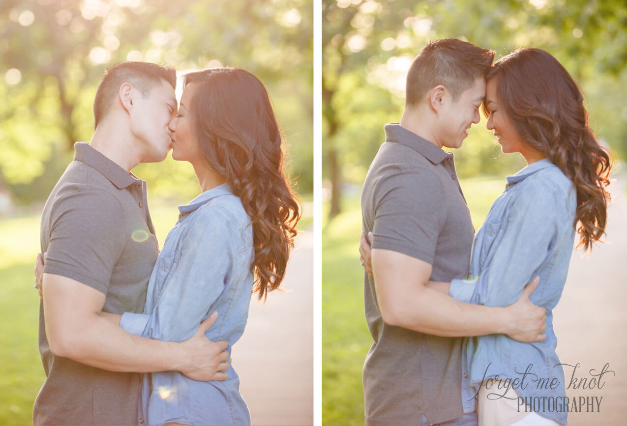 engaged couple kissing at park at columbus ohio photography session
