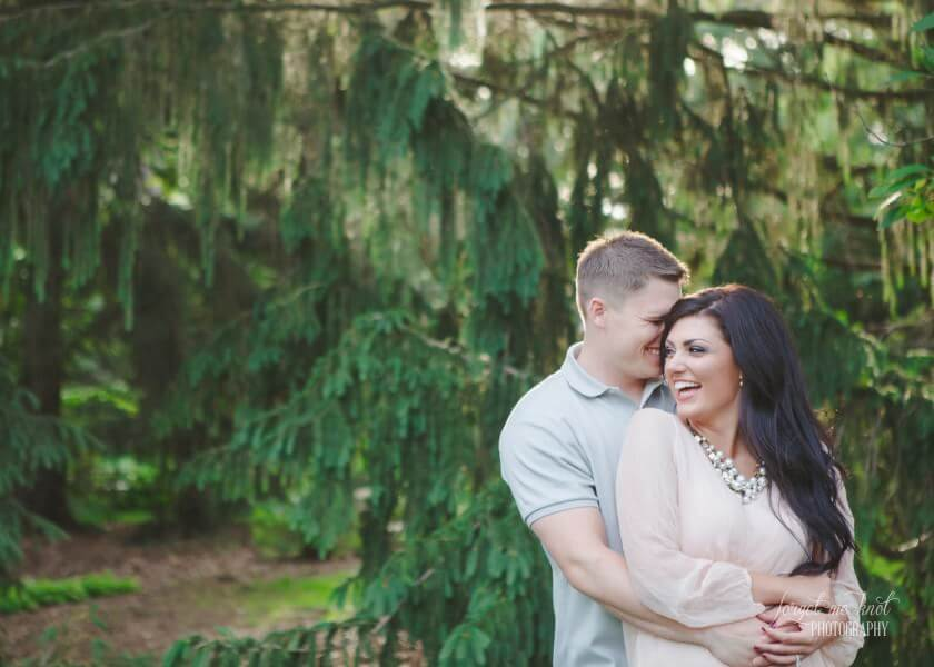 Vintage Engagement Photography session of couple smiling at Inniswood in Westerville Ohio