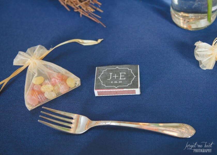 box of matches with initials for wedding guests favors