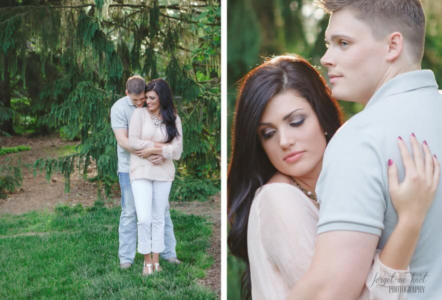 groom to be hugging fiance at westerville engagement