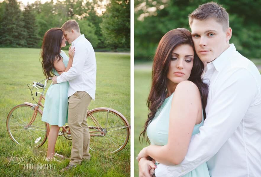 engaged couple standing by vintage bike at Inniswood Metro Gardens
