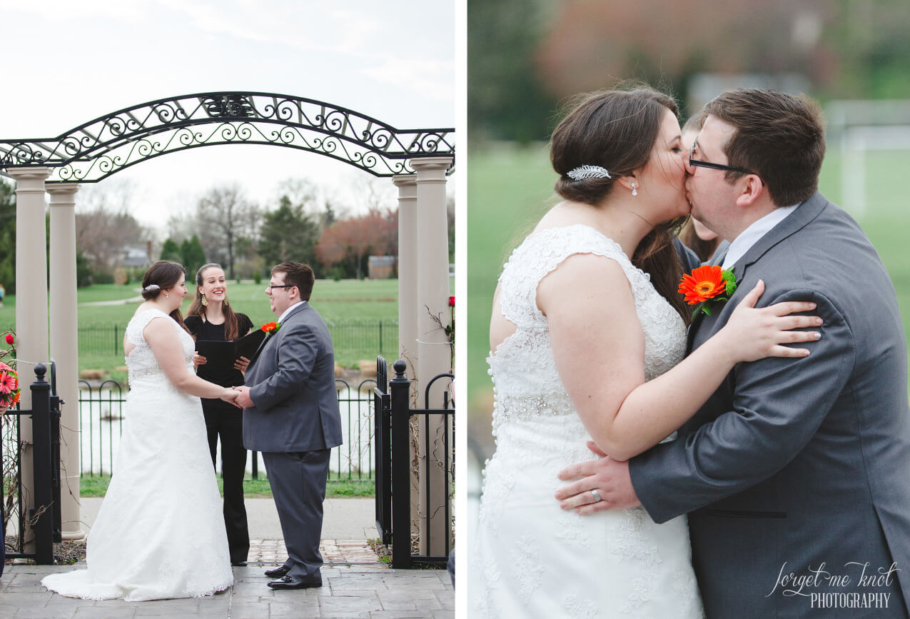 couple sharing first kiss as husband and wife