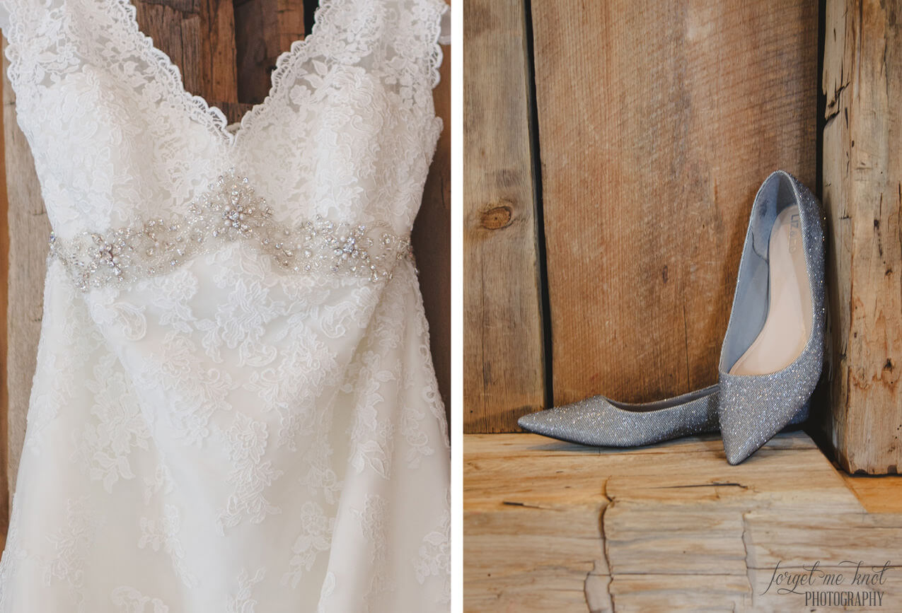 brides shoes in barn