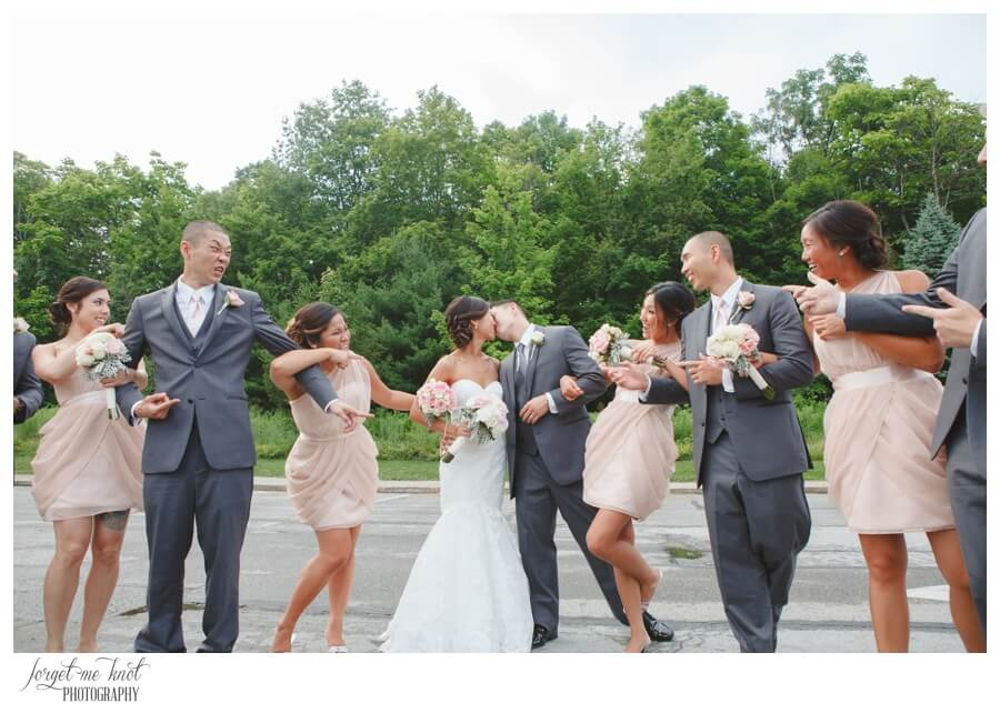 Nationwide Hotel and Conference Center Wedding Photos Lewis Center, OH Photographer wedding bride groom kiss bridal party highbanks