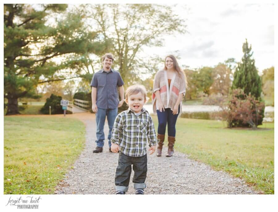 engaged couple with son at Dawes Arboretum