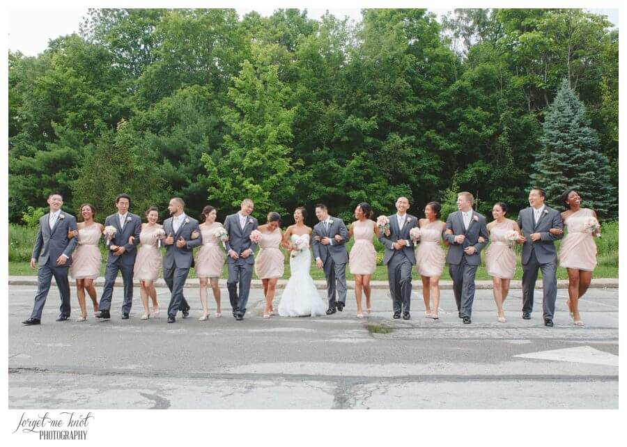 Nationwide Hotel and Conference Center Wedding Photos Lewis Center, OH Photographer wedding party bride groom bridal party candid walking