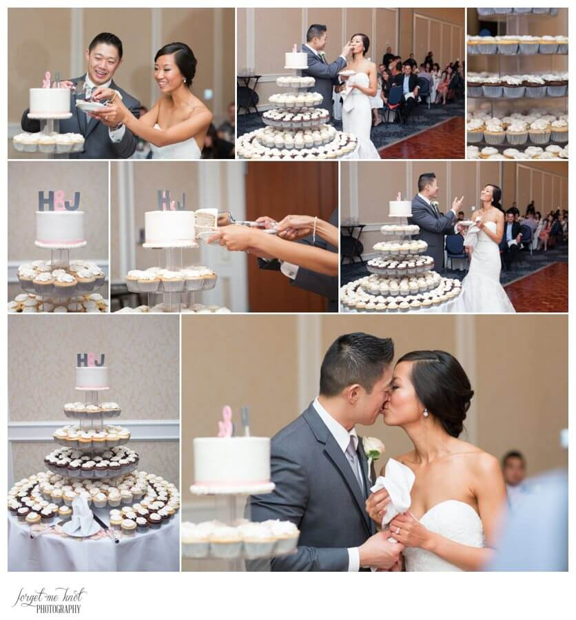 Nationwide Hotel and Conference Center Wedding Photos Lewis Center, OH Photographer wedding bride groom cake cutting