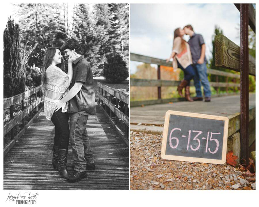 engaged couple with chalk sign at Dawes Arboretum