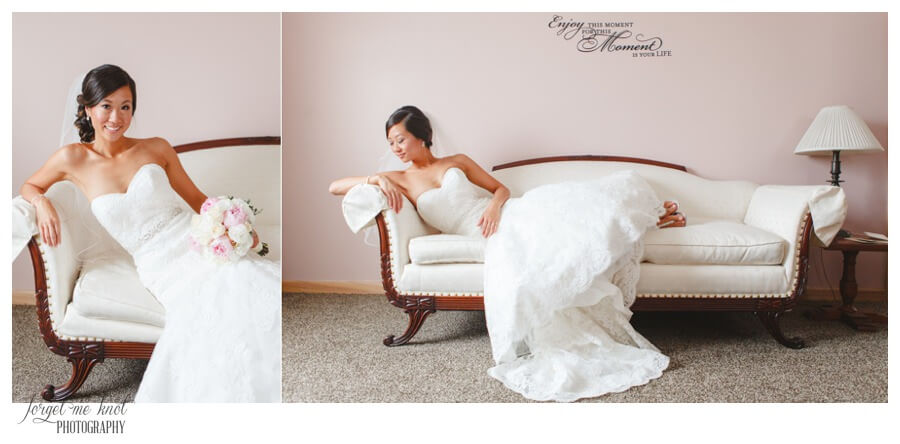 Nationwide Hotel and Conference Center Wedding Photos Lewis Center, OH Photographer bride portrait couch
