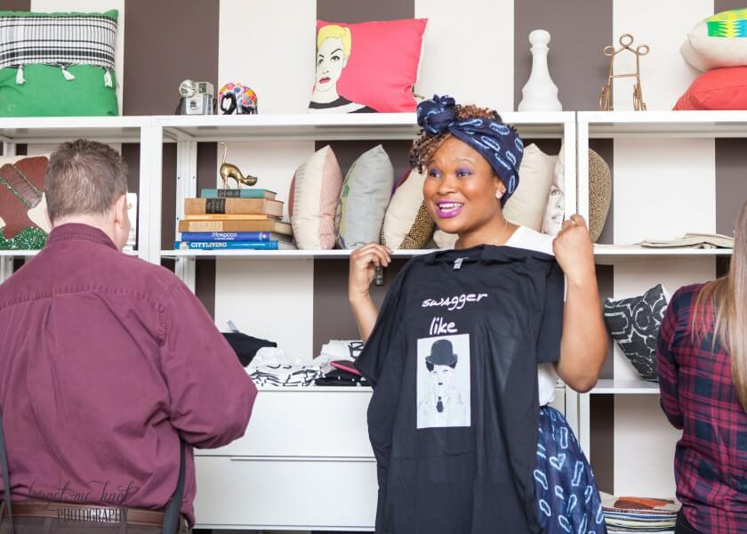 valerie showing her custom tee shirts at columbus ohio event