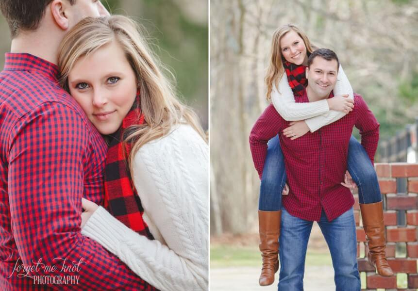 engaged couple doing piggyback rides at Bryn Du Mansion