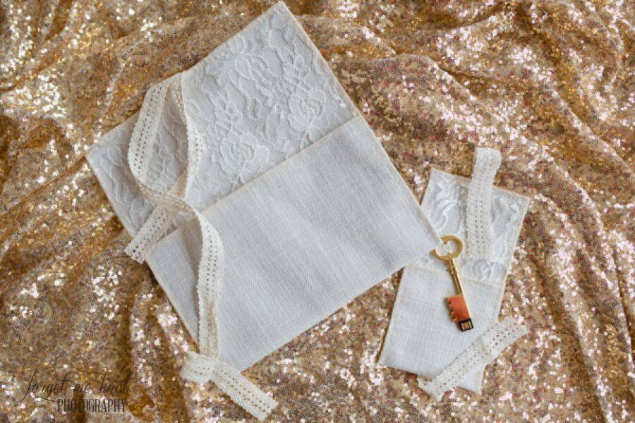 kraft and jute linen and lace pouches