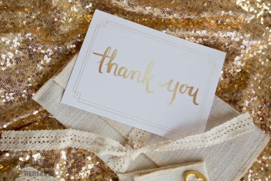 close up of thank you card to clients