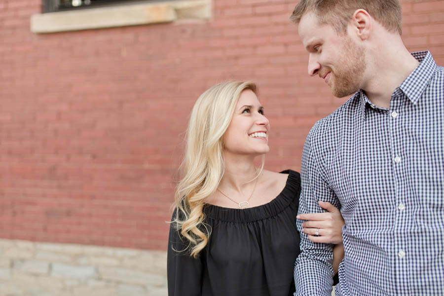 engagement photo of couple smiling in short north