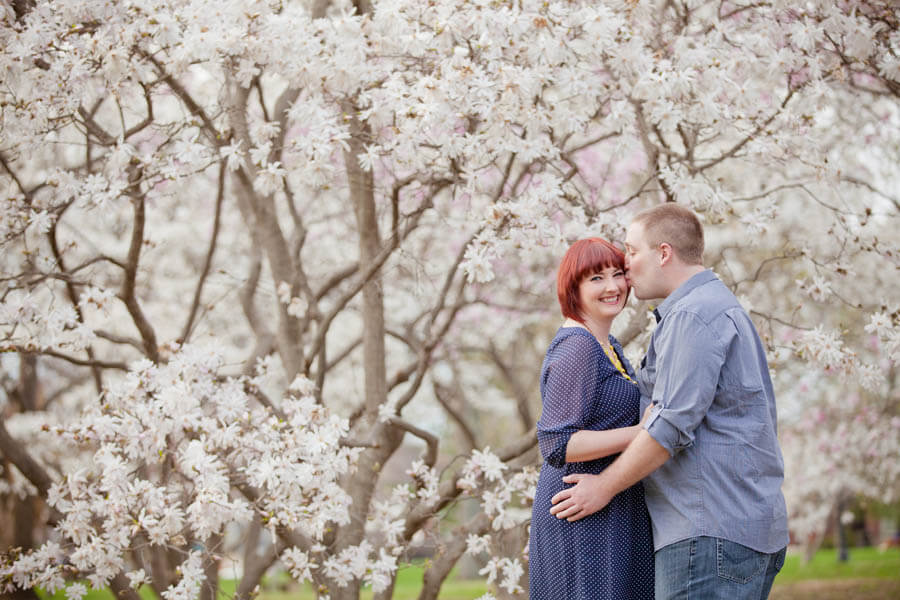 engagement photo of couple at goodale park