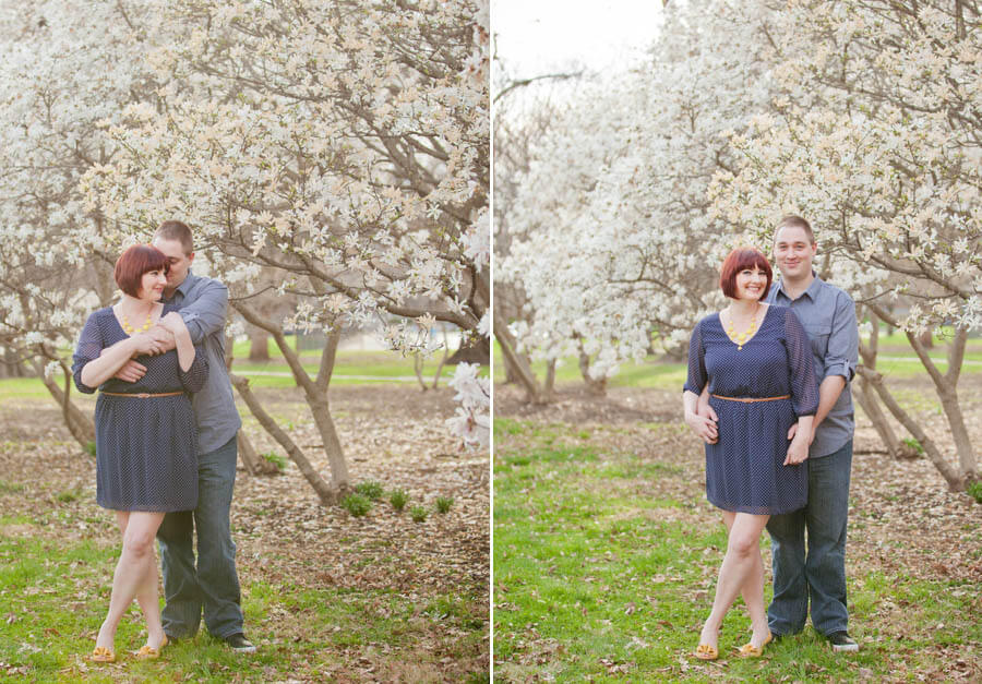 engagement photo of couple cuddling at goodale park