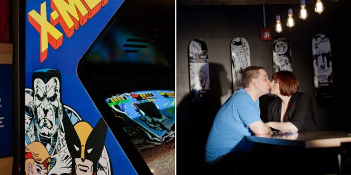 engagement photo of couple at 16-Bit Bar and Arcade columbus ohio