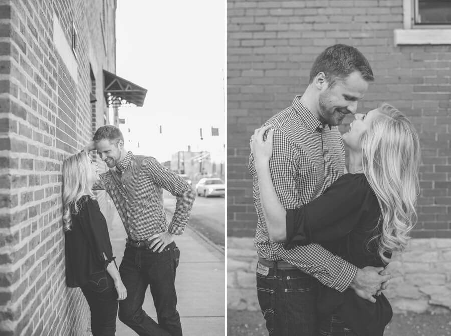 engagement photo of couple laughing in short north columbus ohio