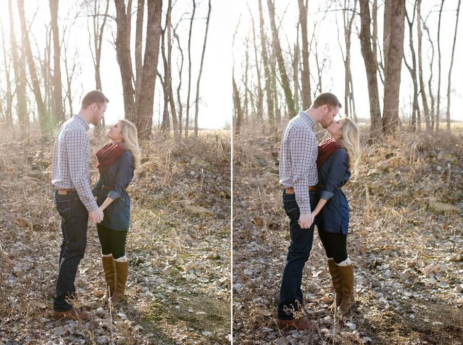 engagement photos of couple kissing near north bank park