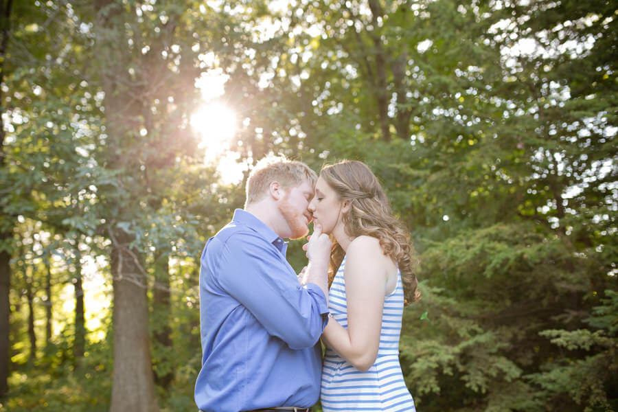 engaged couple almost kissing at Inniswood Metro Gardens
