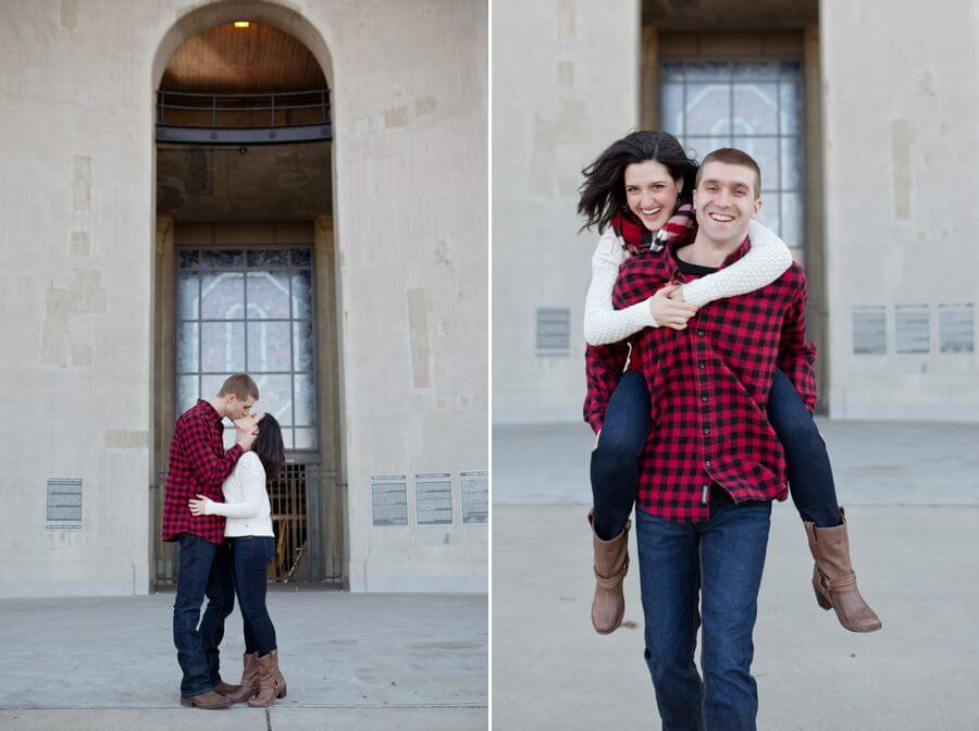 engagement photo of couple piggy back at Ohio State University