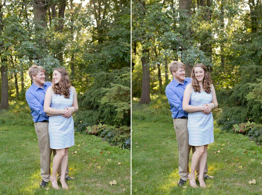 engagement photo of couple hugging at Inniswood Metro park