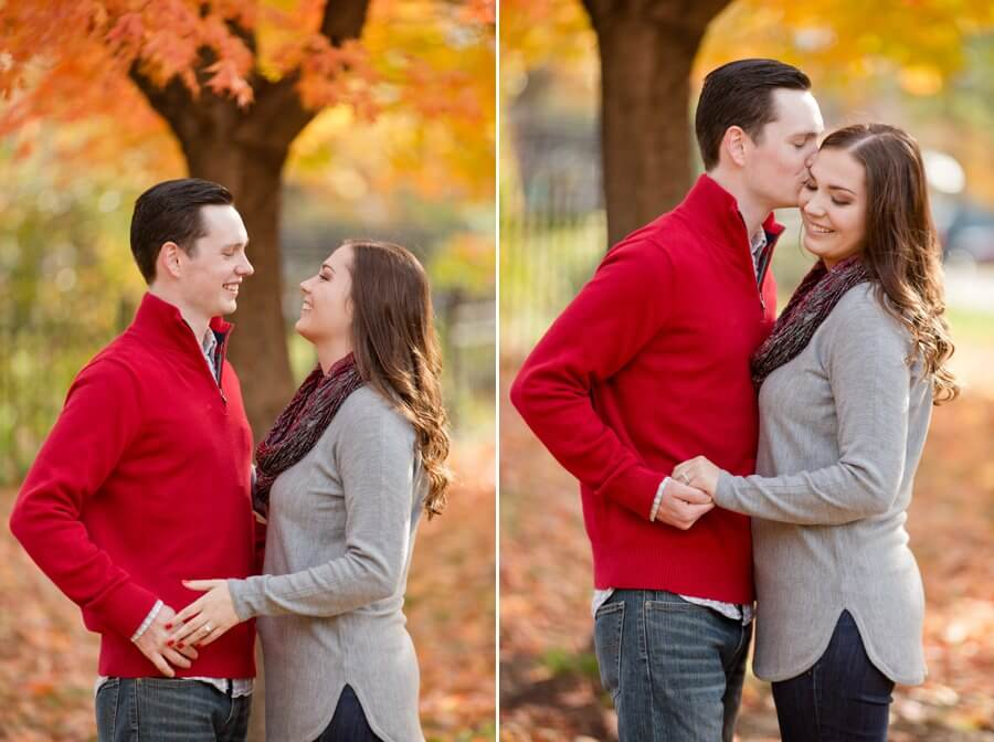 engagement photos of couple kissing at goodale park