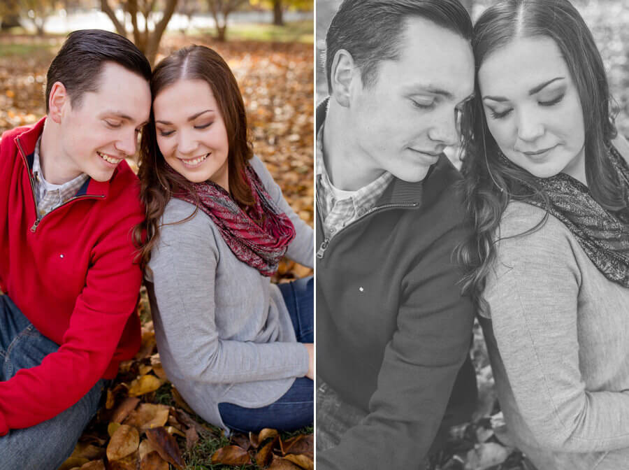engagement photos of couple snuggling
