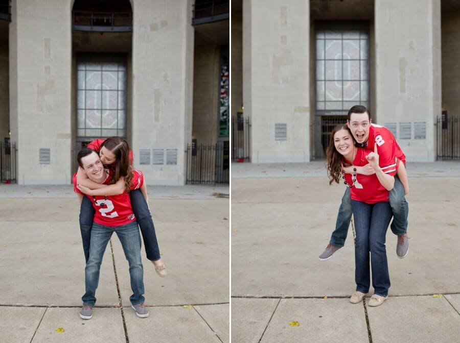 engagement couple giving piggy backs