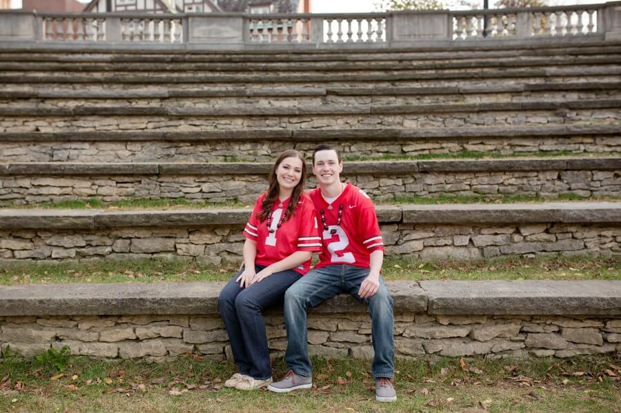 engagement photo of couple at ohio state university