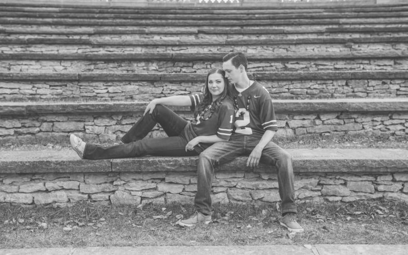 engagement photo of couple at mirror lake ohio state university