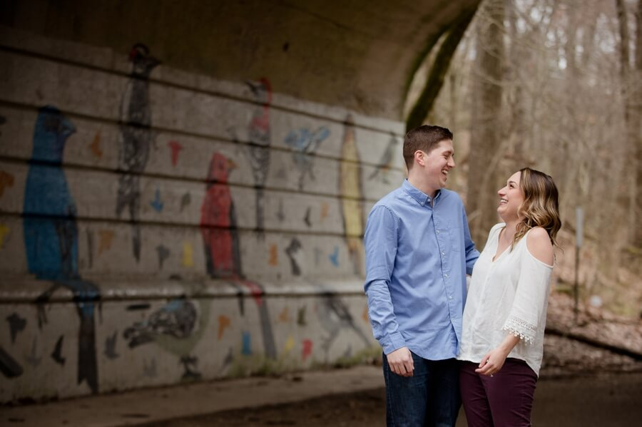 engaged couple laughing at Glen Echo Park Columbus Ohio