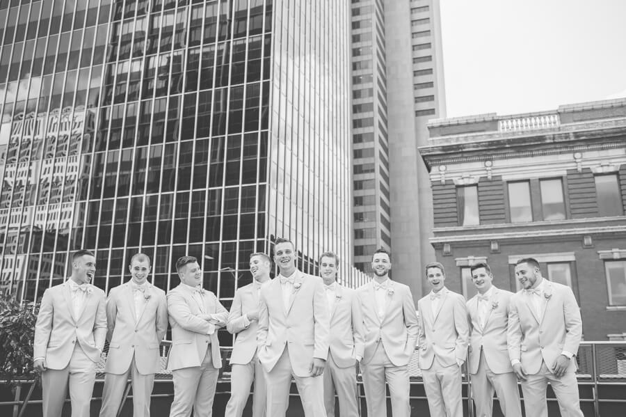 groom and groomsmen at renaissance downtown columbus