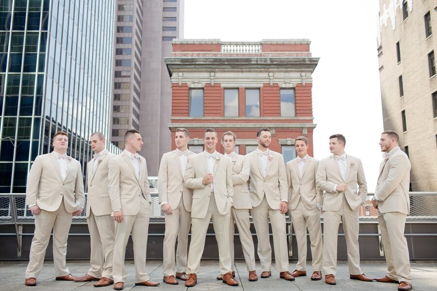 groom and groomsmen at downtown columbus renaissance