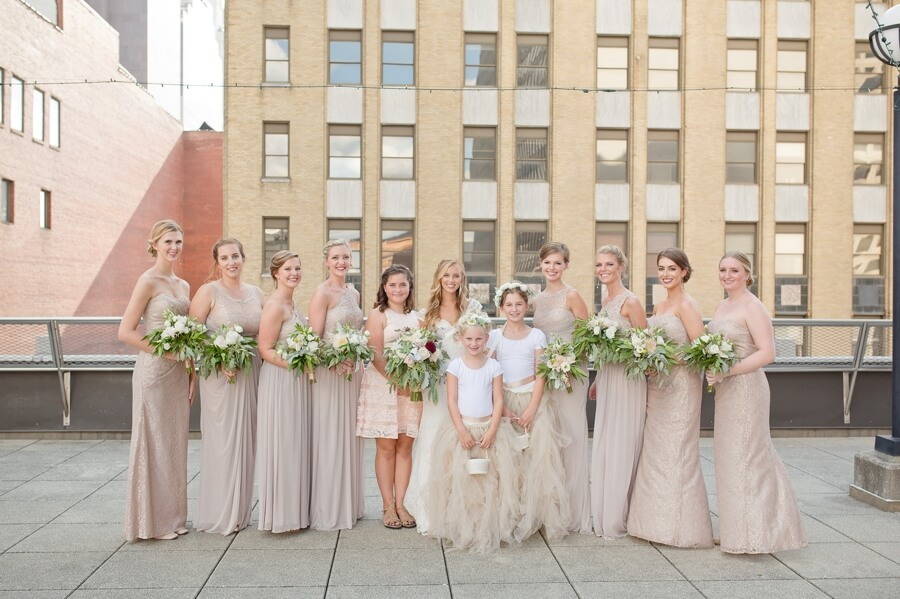 bride and bridesmaids at downtown columbus renaissance