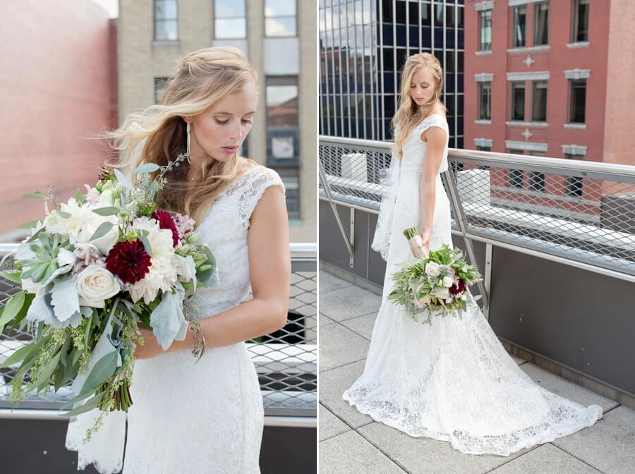 bride in wedding gown at downtown columbus renaissance
