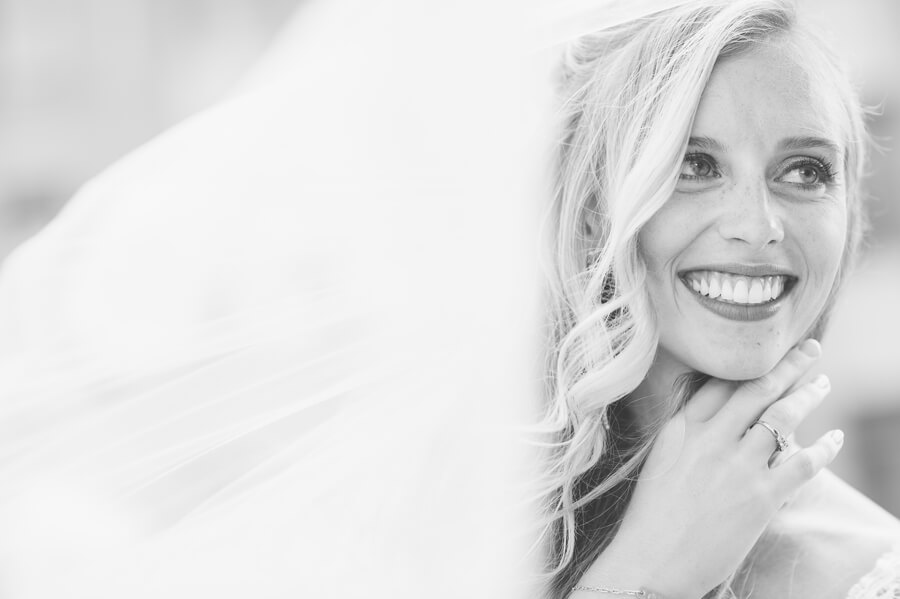 smiling bride at the renaissance downtown columbus ohio