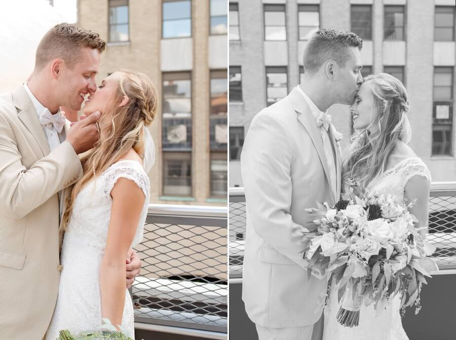 bride and groom kissing at the downtown columbus ohio renaissance