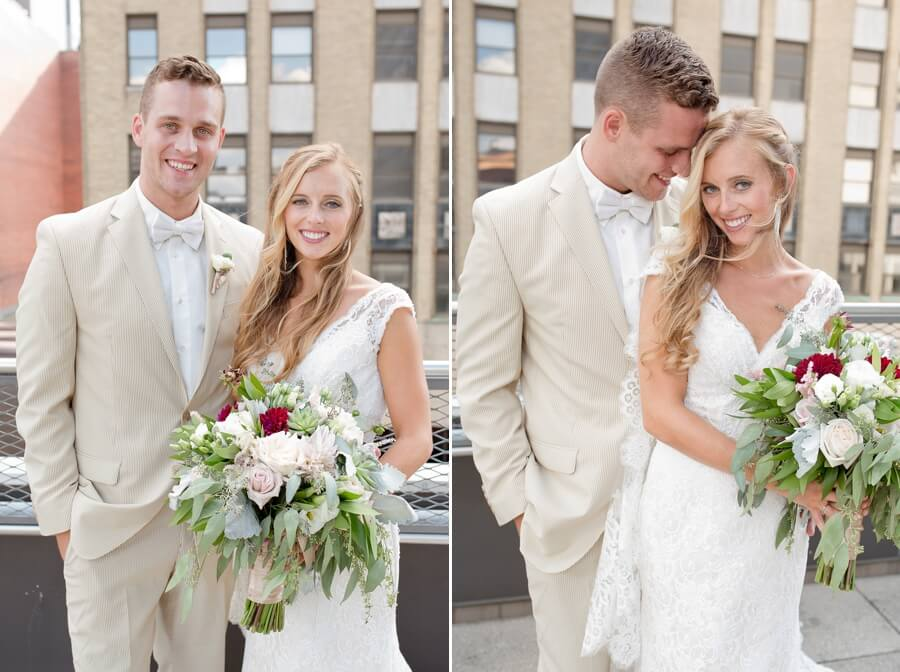 bride and groom smiling at the renaissance columbus ohio