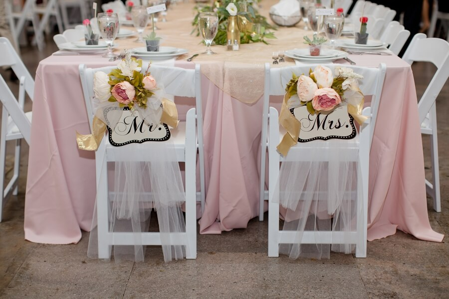 bride and groom chairs at The Vault Columbus