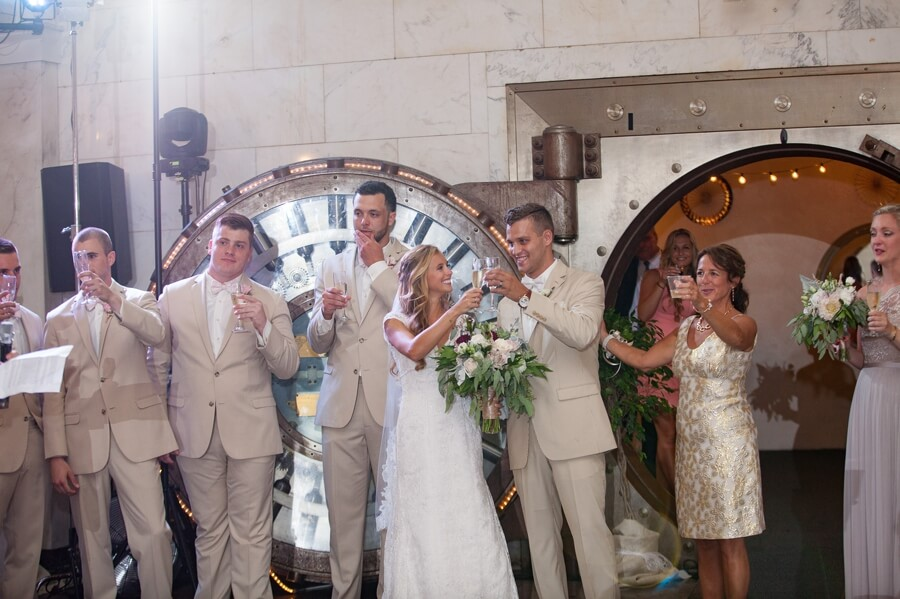 cheers to the bride and groom at The Vault Columbus