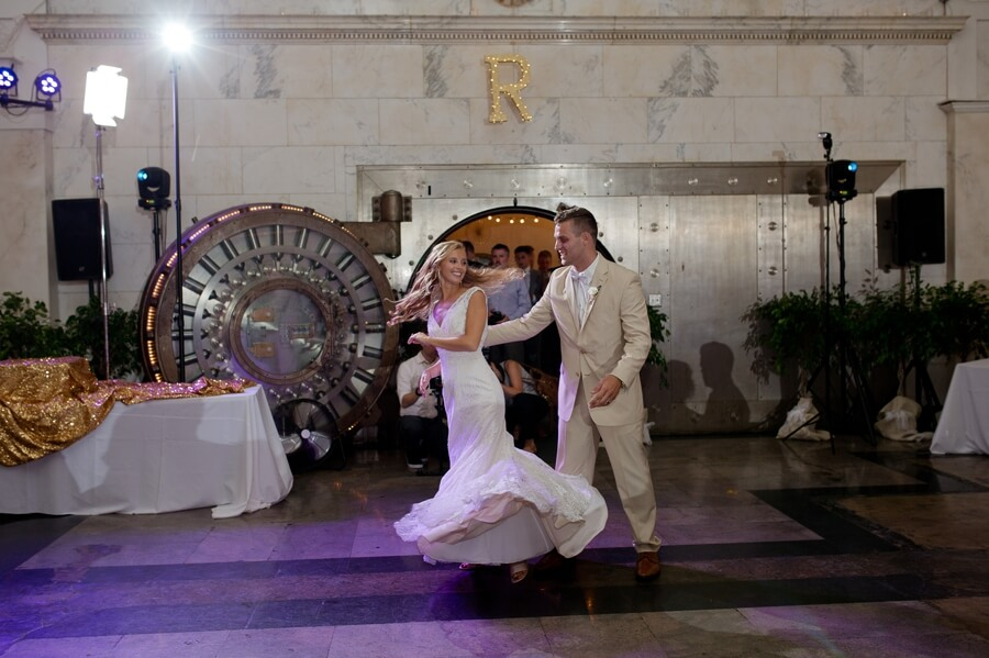 first dance of bride and groom at the Vault columbus ohio