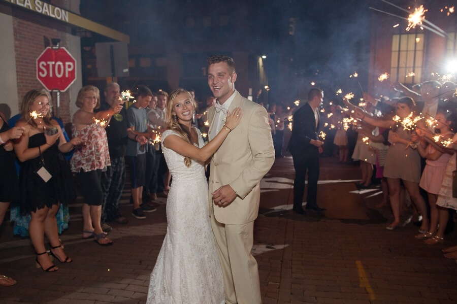 bride and groom sparkler exit at The Vault Columbus