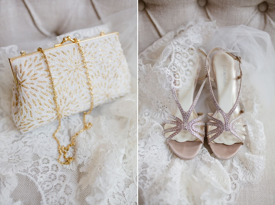bridal shoes and clutch
